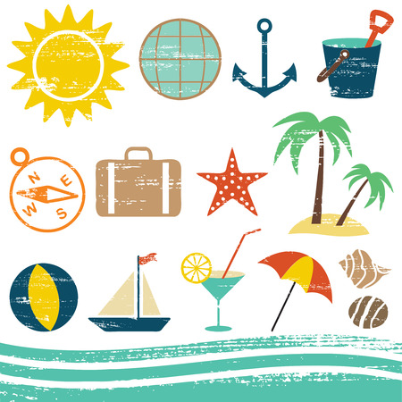 Various summer and sea vector icons.