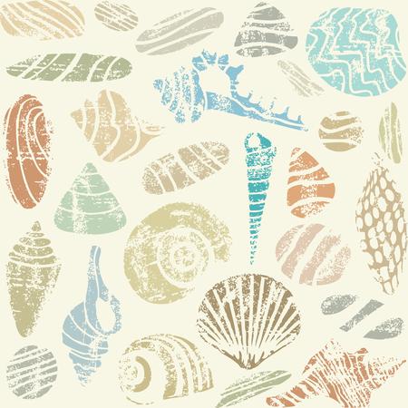 Sea shells and rocks vector seamless pattern.  イラスト・ベクター素材