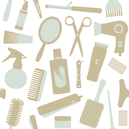 Hair styling related vector seamless pattern.  イラスト・ベクター素材
