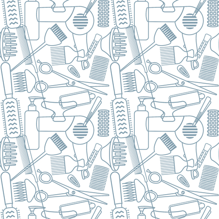 Hair styling related vector seamless pattern. Illustration