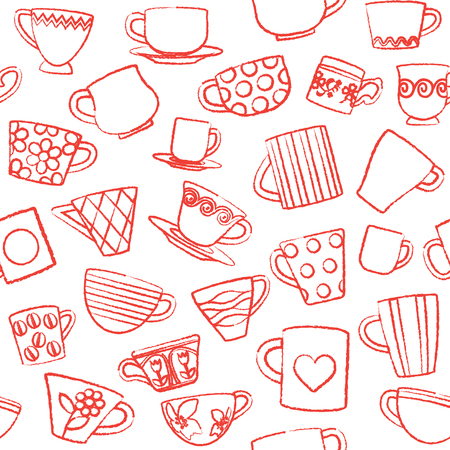 Seamless pattern with hand drawn cups and mugs.