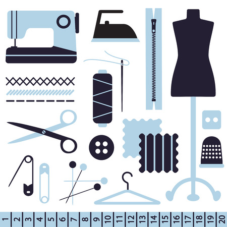 Various sewing related vector icons. Illustration