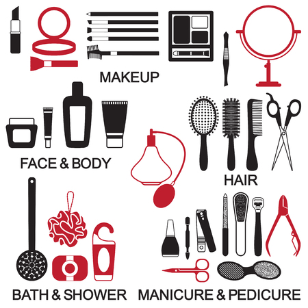 Various cosmetics vector icons.