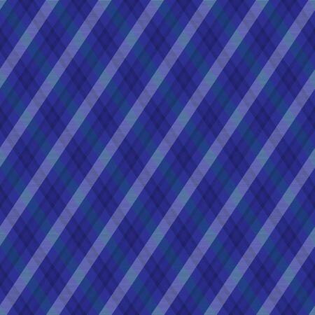 Blue diagonal checkered plaid tartan seamless pattern background Illustration