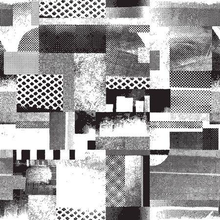 Vector grunge abstract seamless halftone pattern Illustration