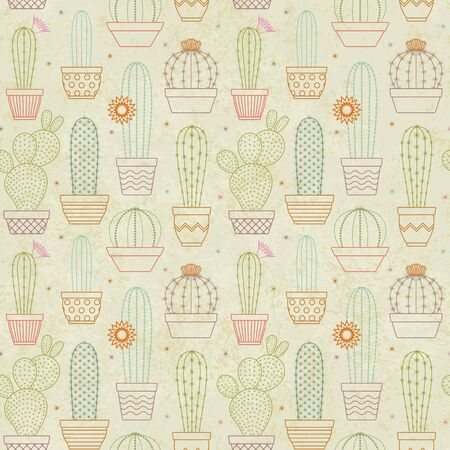 Vintage vector cactus seamless pattern background 2 Ilustrace