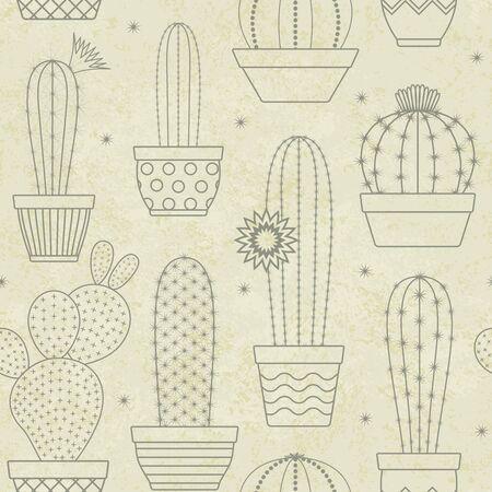 Vintage vector cactus seamless pattern background 1 Illustration