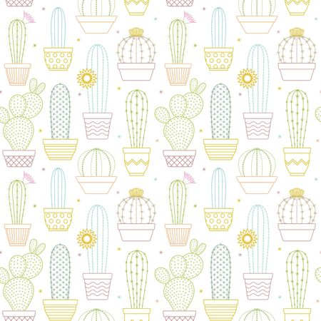 Vector cactus seamless pattern background 2