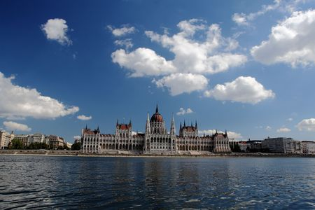 Parlament: Hungarian government office (parlament), reflection in the river