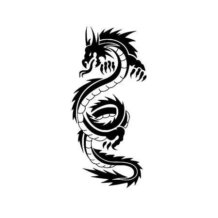 Chinese dragon tattoo design Иллюстрация