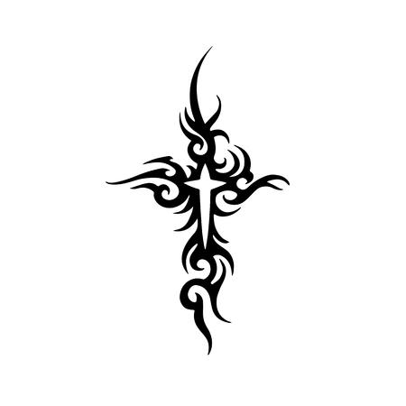 diseño tribal tatuaje de la cruz