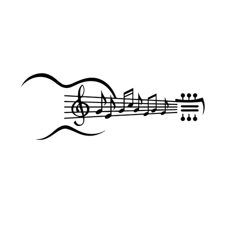 Guitar vector illustration with musical notes