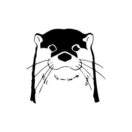 Otter head vector illustration