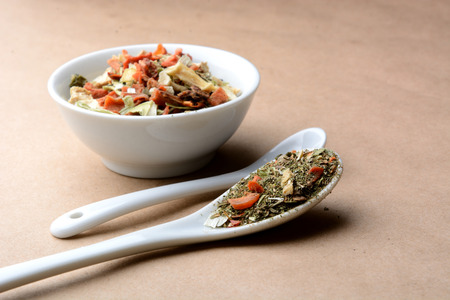 spicy fragrant mixture with mushrooms, vegetables and herbs Stock Photo