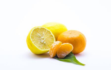 Lemon and tangerine on a white background Stock Photo