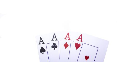 Four aces on a white background closeup Stok Fotoğraf