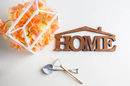 The word House is made of wood. Stock Photo