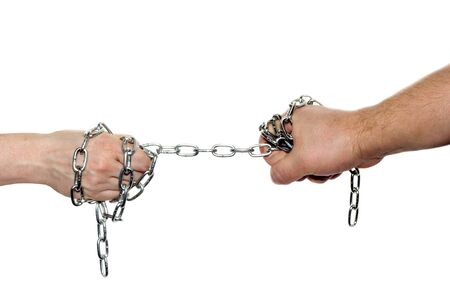 Two hand chained men and woman, isolated on white background Stock Photo