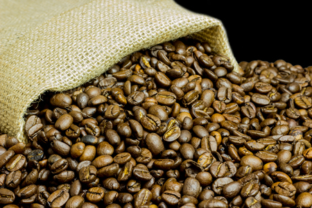Burlap bag and coffee beans