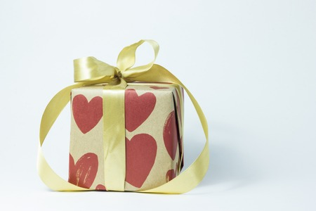 Gift box with hearts, gift concept for lovers