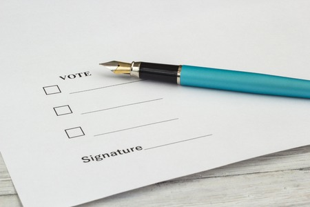 One document for voting and signing, close-up