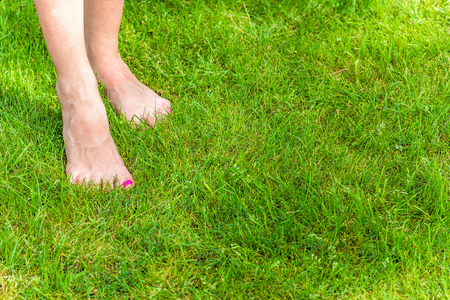 bare feet on green grass in summer Stock Photo