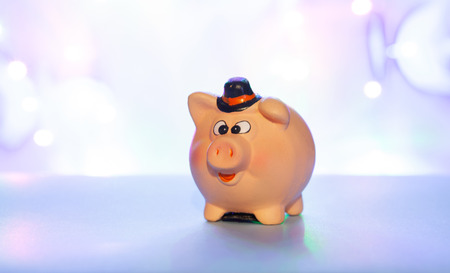 Ceramic piggy bank on a blue blurred background, concept of saving money