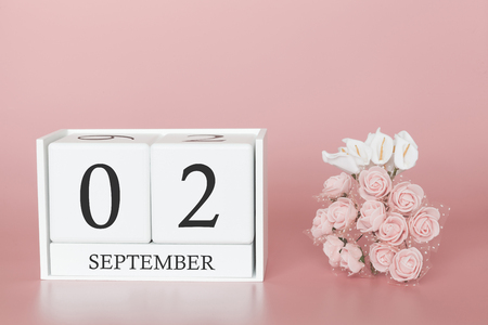 September 02nd. Day 2 of month. Calendar cube on modern pink background, concept of bussines and an importent event.