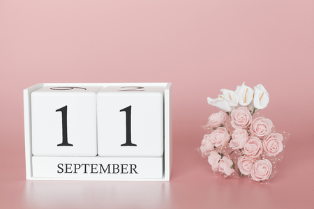 September 11th. Day 11 of month. Calendar cube on modern pink background, concept of bussines and an importent event. Stok Fotoğraf
