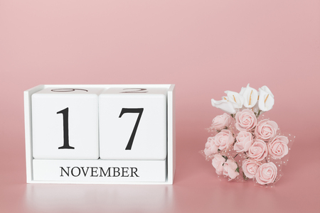November 17th. Day 17 of month. Calendar cube on modern pink background, concept of bussines and an importent event.