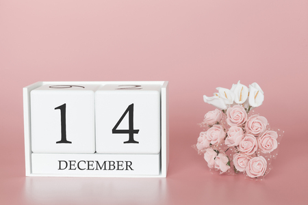 December 14th. Day 14 of month. Calendar cube on modern pink background, concept of bussines and an importent event.