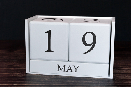 Business calendar for May, 19th day of the month. Planner organizer date or events schedule concept.
