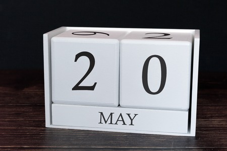 Business calendar for May, 20th day of the month. Planner organizer date or events schedule concept.