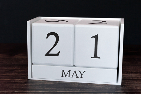 Business calendar for May, 21st day of the month. Planner organizer date or events schedule concept.