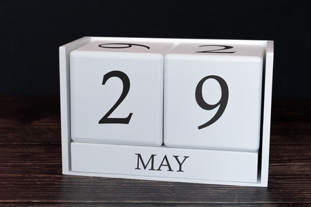 Business calendar for May, 29th day of the month. Planner organizer date or events schedule concept.