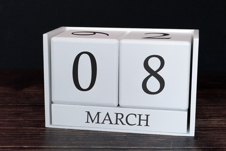 Business calendar for March, 8th day of the month. Planner organizer date or events schedule concept.