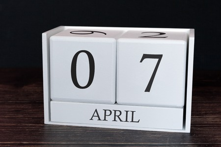 Business calendar for April, 7th day of the month. Planner organizer date or events schedule concept.