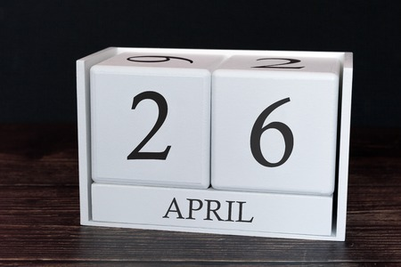 Business calendar for April, 26th day of the month. Planner organizer date or events schedule concept.