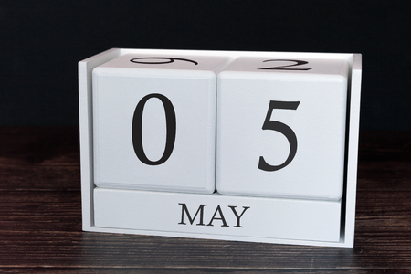Business calendar for May, 5th day of the month. Planner organizer date or events schedule concept.