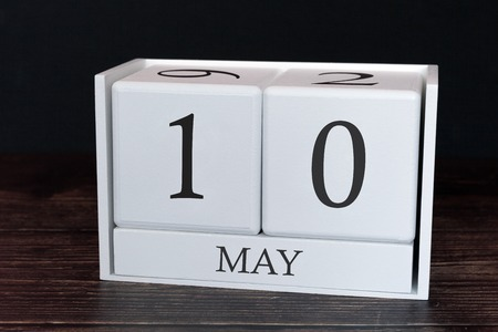 Business calendar for May, 10th day of the month. Planner organizer date or events schedule concept.