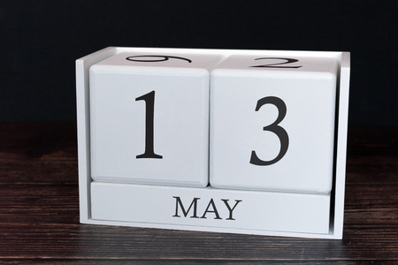 Business calendar for May, 13th day of the month. Planner organizer date or events schedule concept.