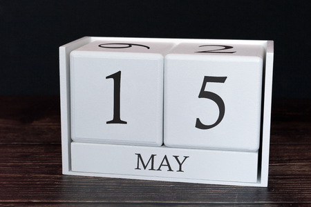Business calendar for May, 15th day of the month. Planner organizer date or events schedule concept.