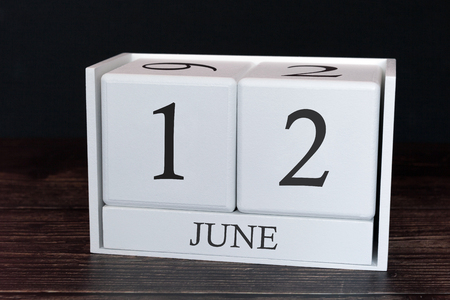 Business calendar for June, 12th day of the month. Planner organizer date or events schedule concept. Banco de Imagens