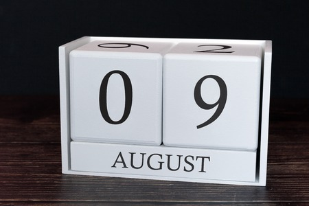 Business calendar for August, 9th day of the month. Planner organizer date or events schedule concept.