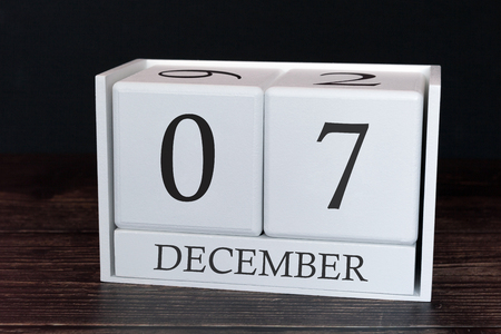Business calendar for December, 7th day of the month. Planner organizer date or events schedule concept.