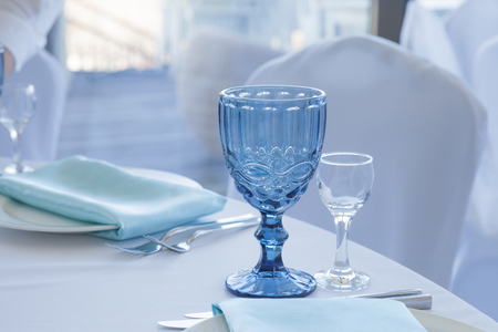 Table setting for wedding table, close-up of glasses