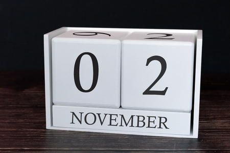 Business calendar for November, 2nd day of the month. Planner organizer date or events schedule concept.