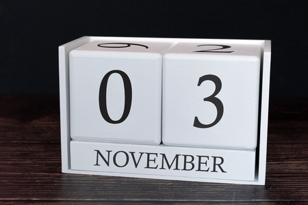 Business calendar for November, 3rd day of the month. Planner organizer date or events schedule concept.