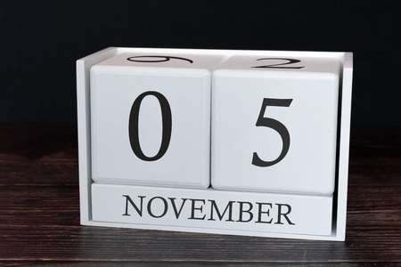 Business calendar for November, 5th day of the month. Planner organizer date or events schedule concept.