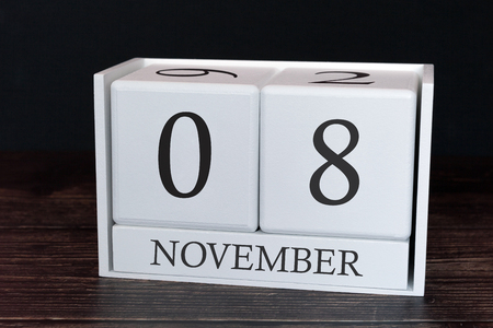 Business calendar for November, 8th day of the month. Planner organizer date or events schedule concept.